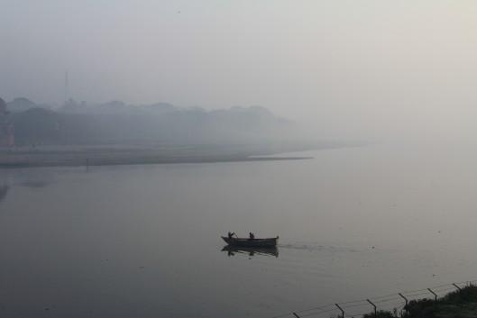 Sunrise on the Yamuna River, Agra, India, from the Taj Mahal