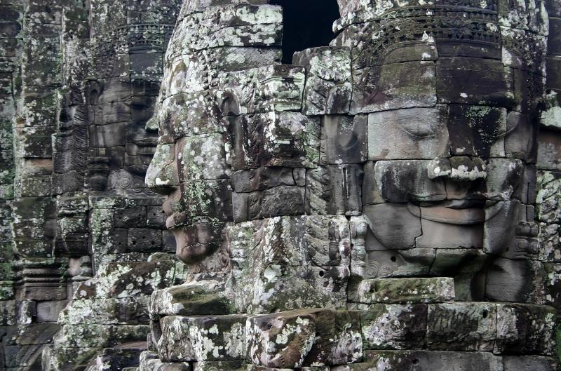 Smiling faces on towers of the Bayon Temple, Angkor Thom, Angkor, Cambodia