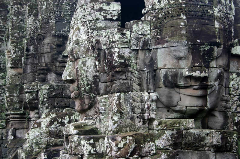 Smiling faces on towers of the Bayon Temple, Angkor Thom, Angkor, Cambodia