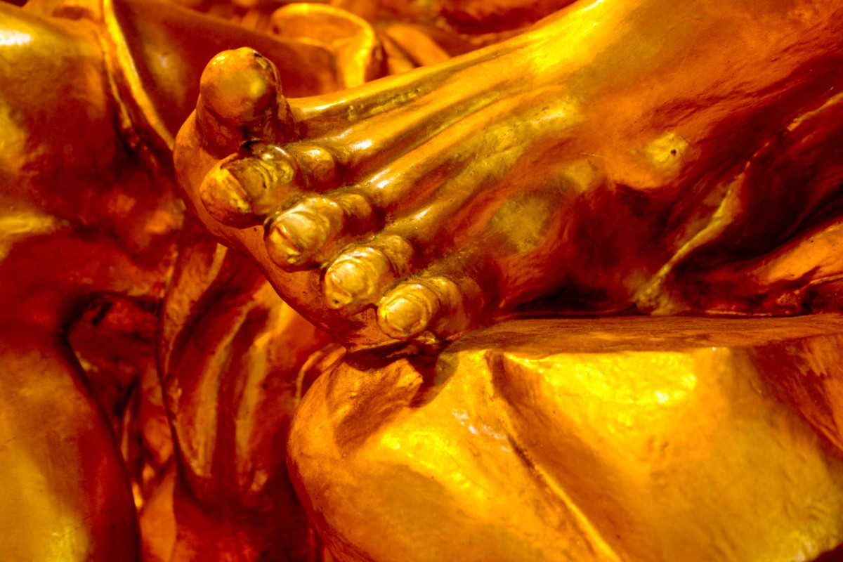 Detail of Buddha statue, Singapore
