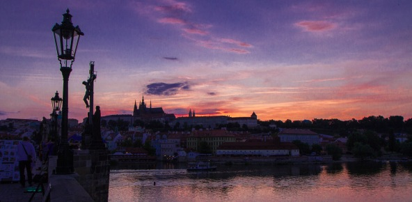 Prague sunset from the Charles Bridge