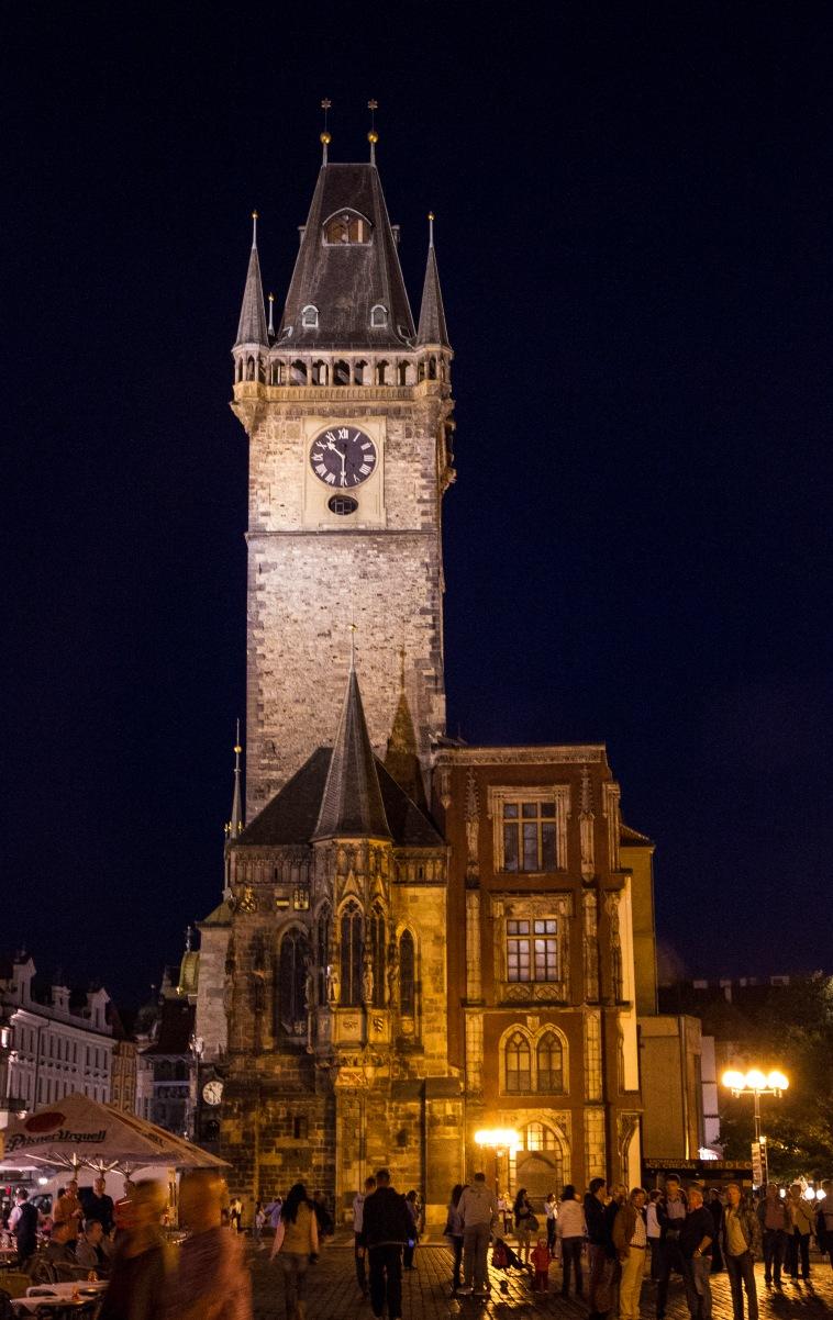 Clock tower after dark.
