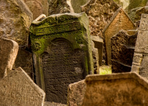 Headstones in the Old Jewish Cemetery, Josefov district, Prague