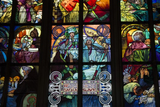 Alphonse Mucha window detail, St. Vitus Cathedral, Prague Castle complex