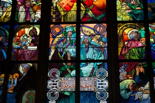 Alphonse Mucha window detail, St. Vitus Cathedral, Prague Castle complex