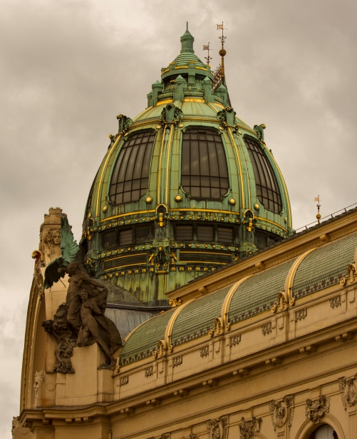 Dome with cupola, Obecni Dum, Prague, Czech Republic