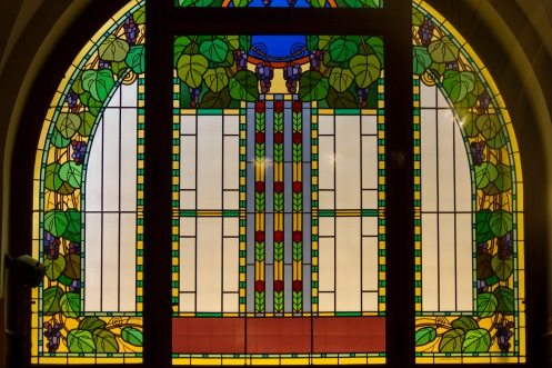 Art Nouveau stained glass window in the Oldecni Dum