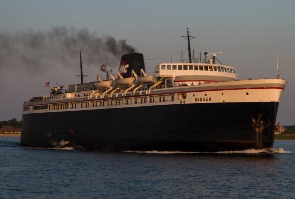 Badger Car Ferry Departing Port at Luddington, Michigan