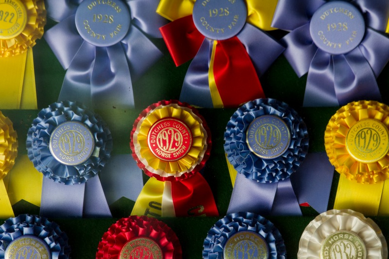 Ribbons in display in the stables at Hyde Park, NY, the home of President Franklin Delano Roosevelt.