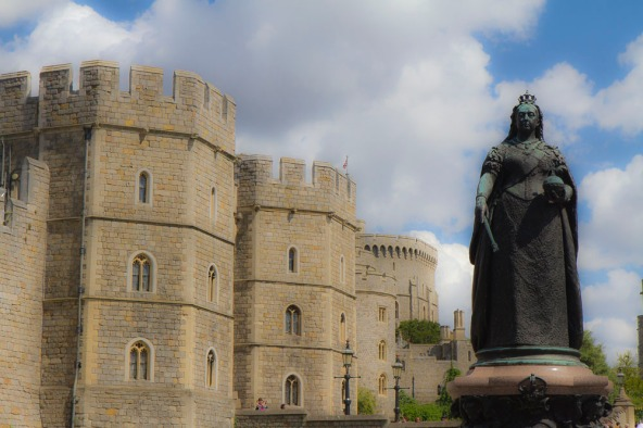 Queen Victoria watches over her subjects on a sunny day in Windsor.
