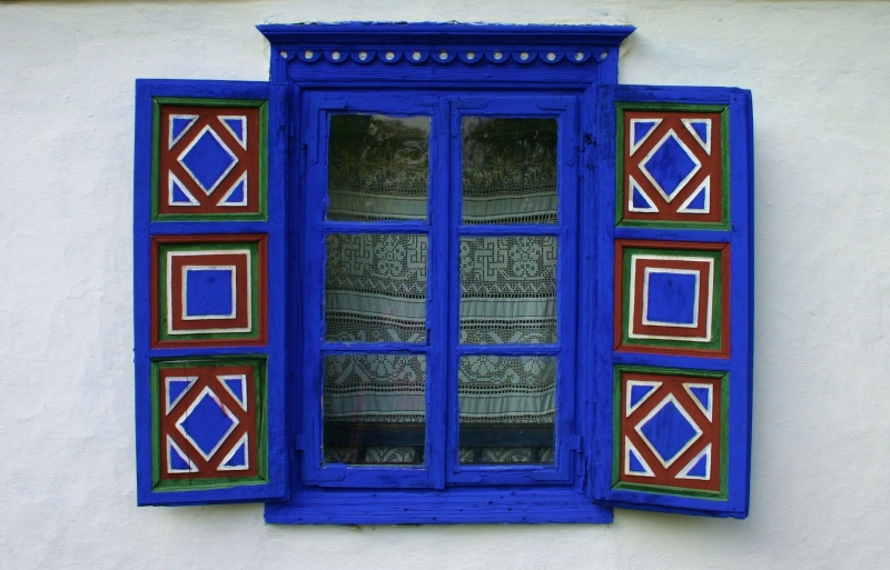 Window decoration on building in Bucharest's Village Museum (Muzeul Satului).