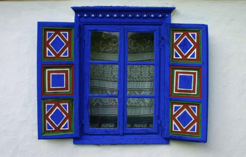 Window decoration on building in Bucharest's Village Museum (Muzeul Satului).