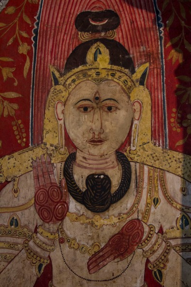 Detail from a rock temple painting at Dambulla, Sri Lanka