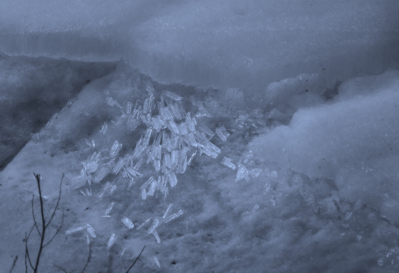 Ice crystals formed by the melting snow during the spring thaw near North Pole, Alaska