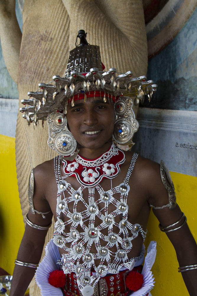 Sri Lankan dancer from the Kandy area, in traditional costume. His dance group performed during at Ruwanwelisaya (Rathnamali Dagoba) at the sacred city of Anuradhapura, a Ceylonese political and religious capital that flourished for 1,300 years.