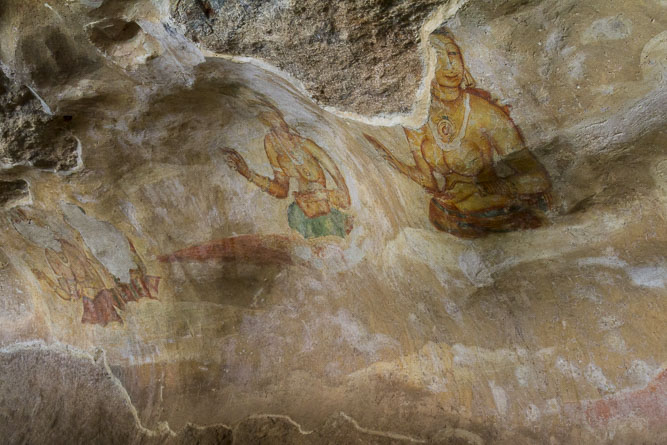 Sigiriya: 5th century AD frescoes on cave walls depicting maidens (though there is some discussion re the date and iconograpy).