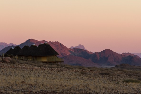 Sossusvlei Dunes Camp at Sunrise, Namib-Naukluft National Park, Namibia