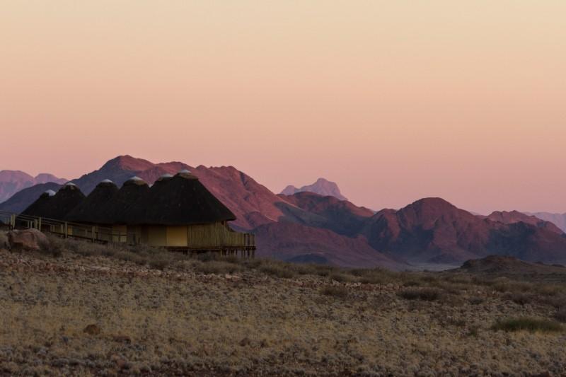 Sossusvlei Dunes Camp at Sunrise, Namib-Naukluft National Park, Namibia