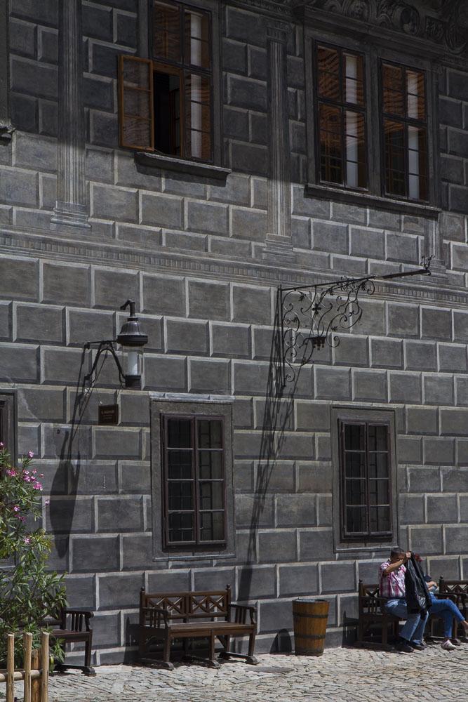 Eigengrau wall in the castle at Csesky Krumlov, Czech Republic.