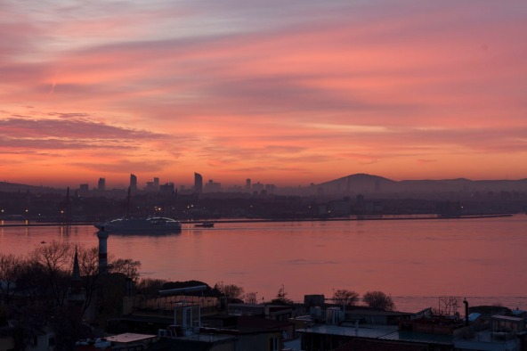 Istanbul sunrise looking across the Golden Horn