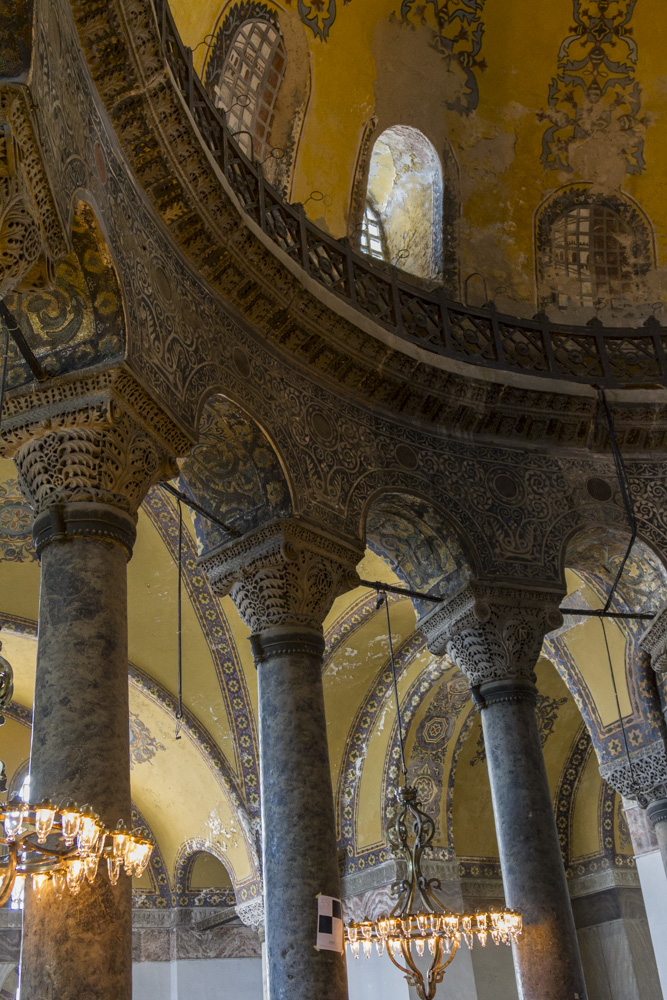 Interior of Hagia Sofia. The building did not appear to be well maintained.