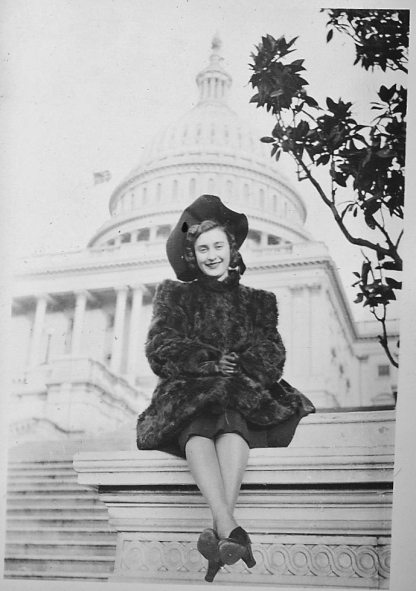 Great-aunt Tina looking chic in Washington, DC, late 1040s.