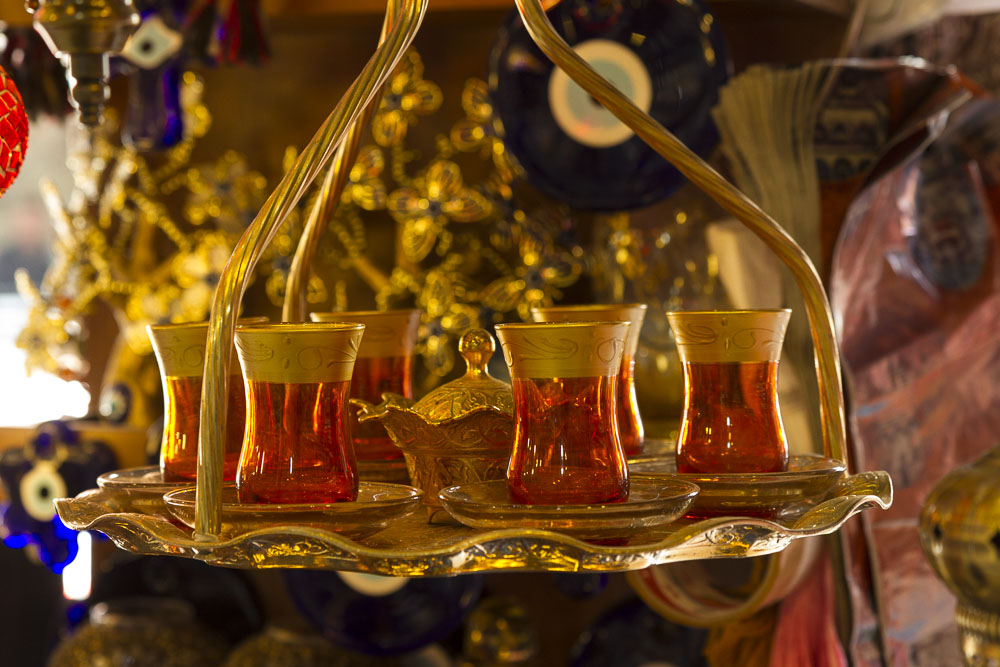 Tea Service, Turkish Market, Istanbul, Turkey