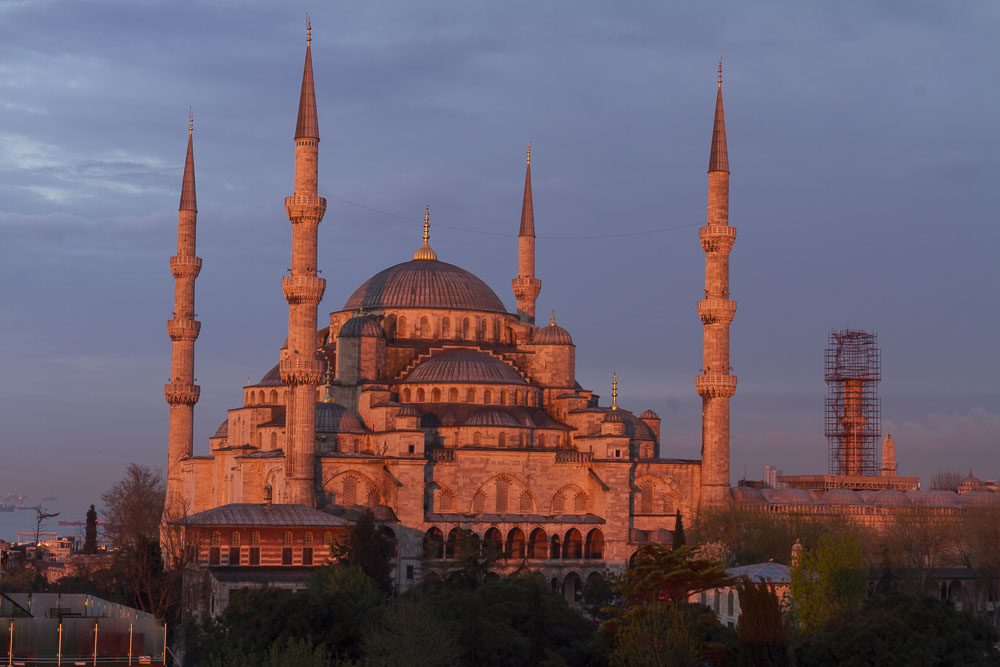 Sunrise Pink on the Blue Mosque, Istanbul, Turkey