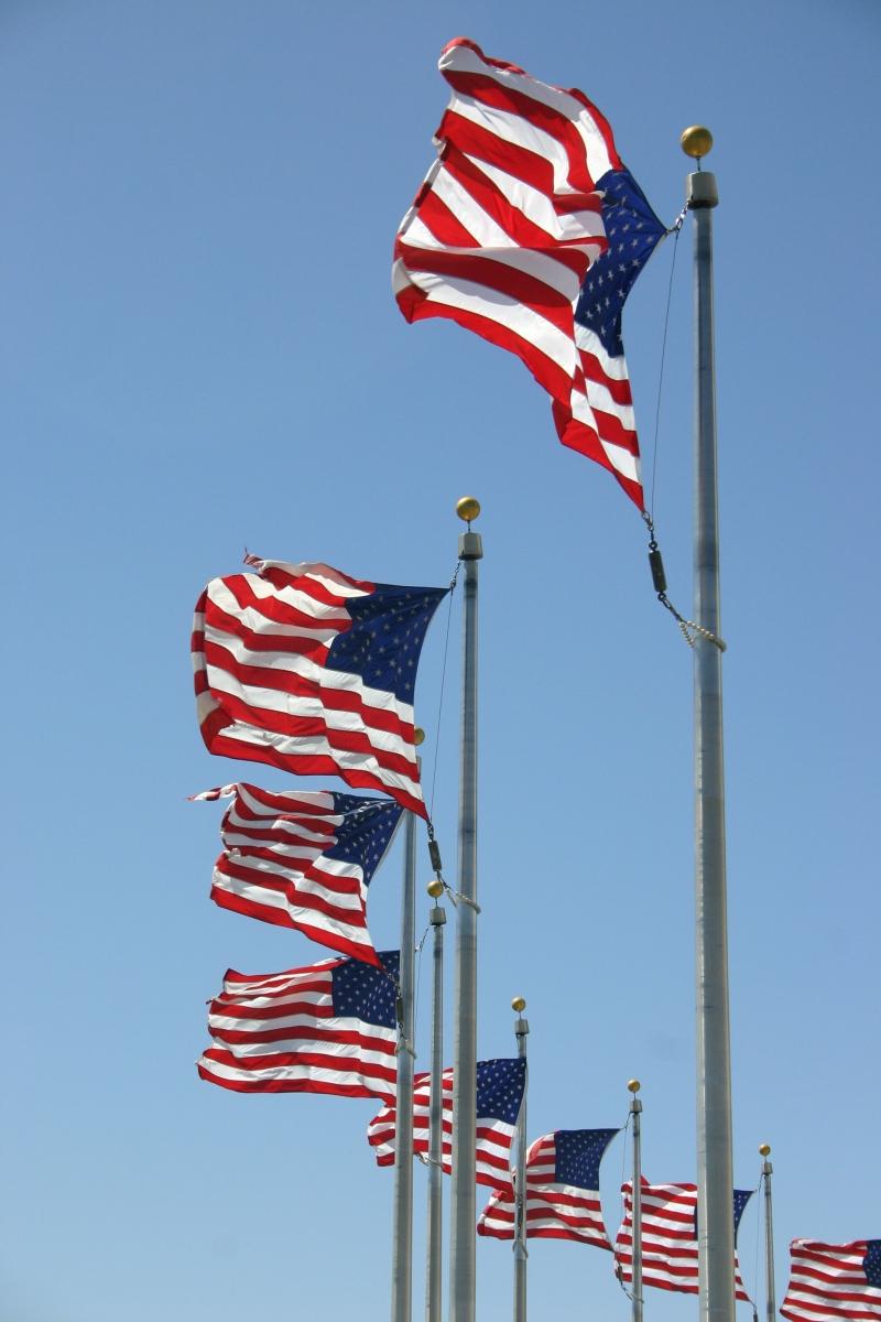 U.S. Flags at the Washington Memorial, Washington, DC