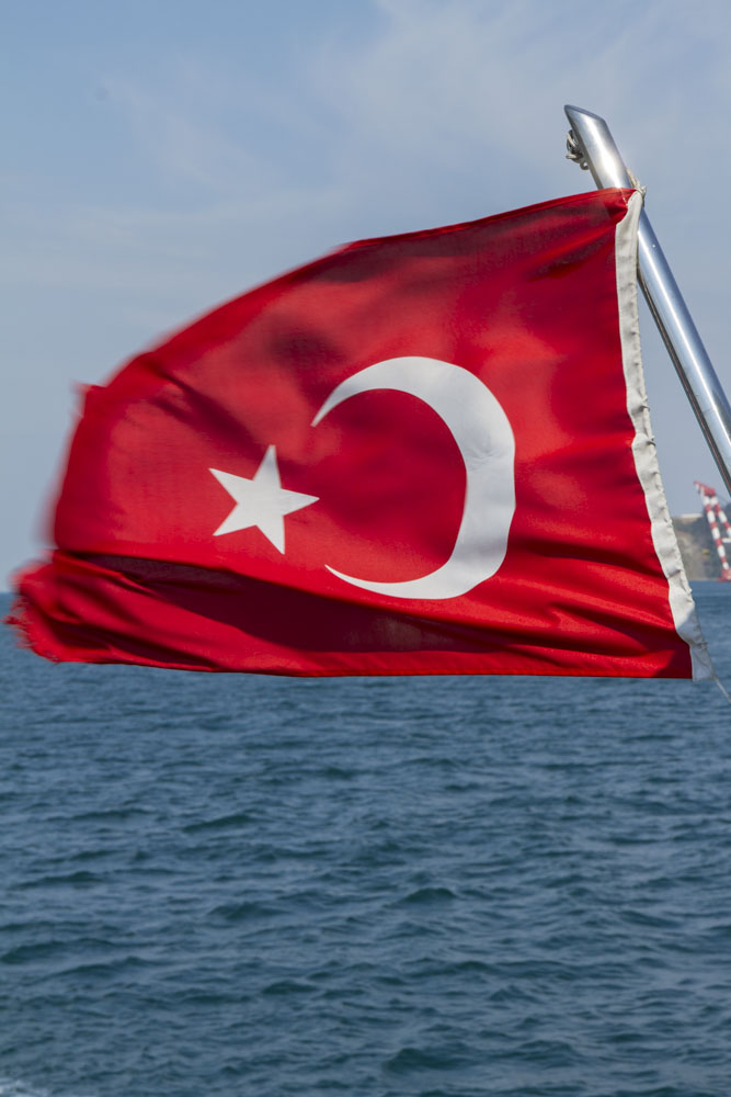 Turkish Flag on the back of a tour boat in the Bosphorus