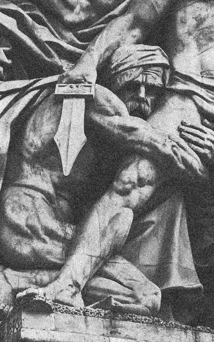 Detail from relief carving on the Arc de Triomphe, La Résistance de 1814 by Antoine Etex