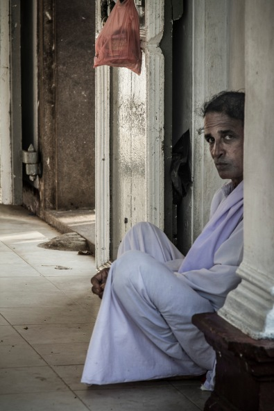 Pilgrim at the Bodi Tree, Anuradhapura, Sri Lanka.