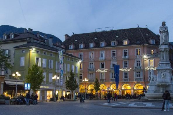 Hotel facade at dusk, Bolzano, Italy