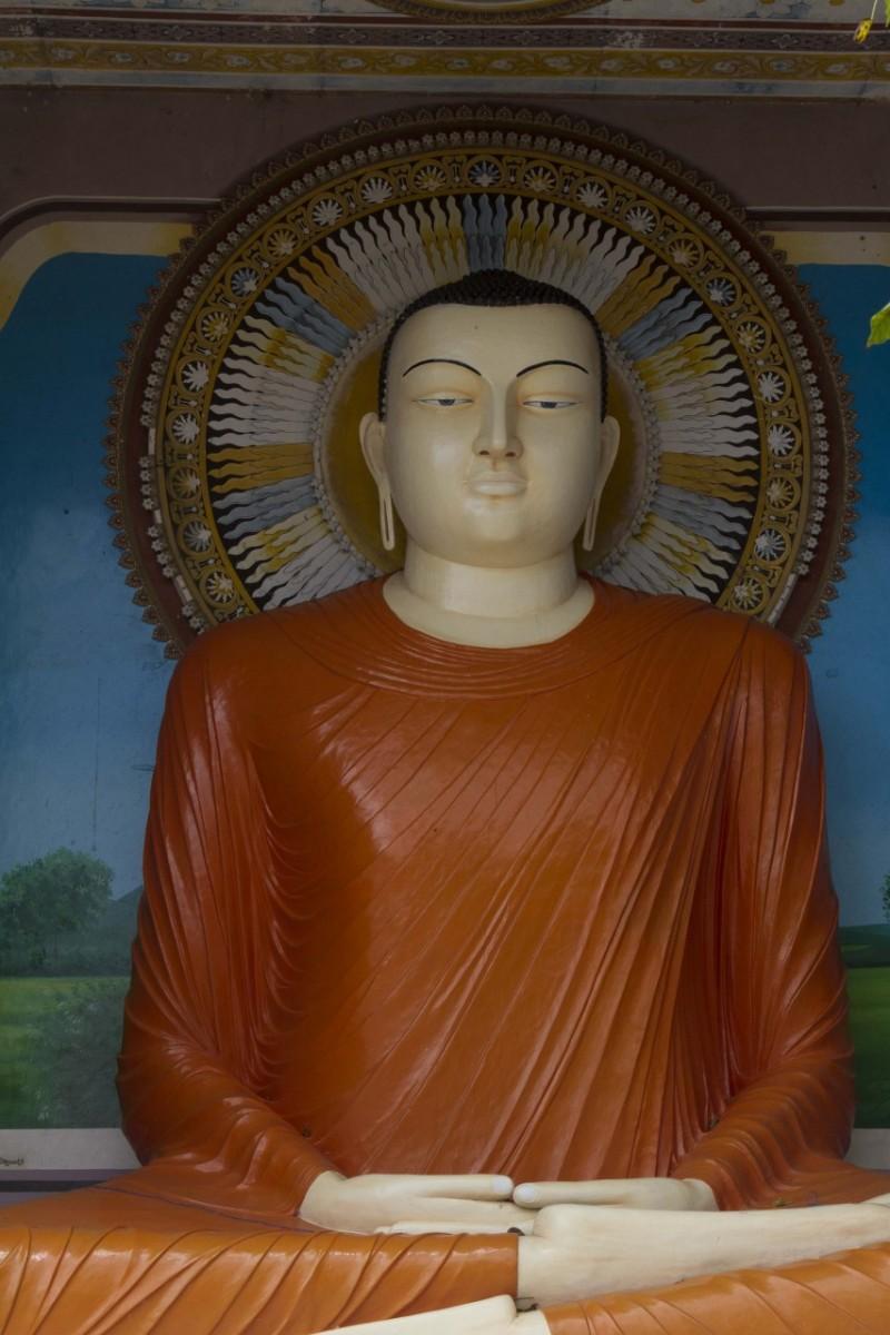 Buddha at Buddhist Kothduwa temple on island in the Madu Ganga River/Wetlands, Sri Lanka