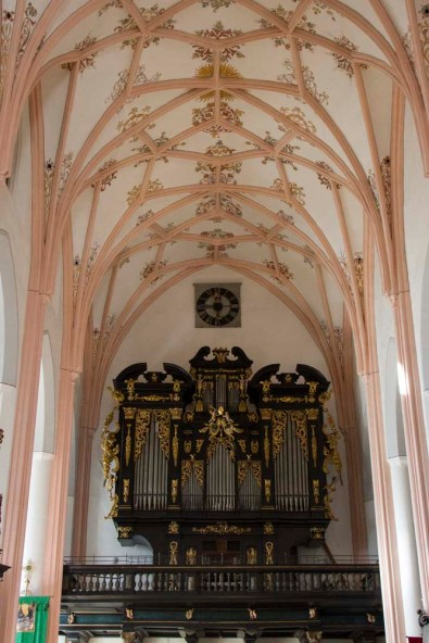 Rib vaults and column decoration,  St. Michael's Church, Mondsee, Austria