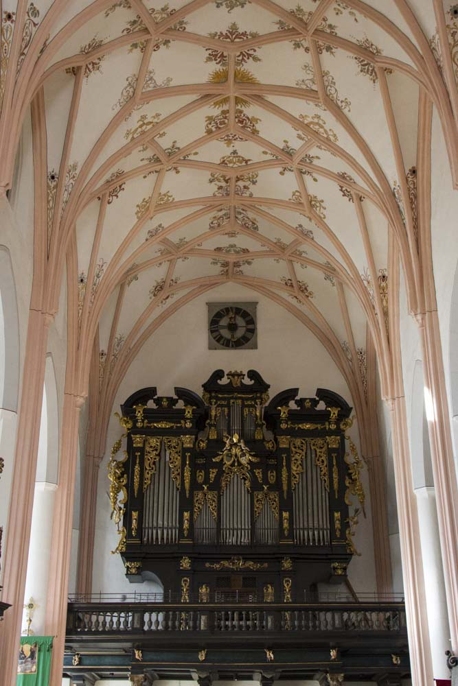 Rib vaults and column decoration,  St. Michael's Church, Mondsee, Austria