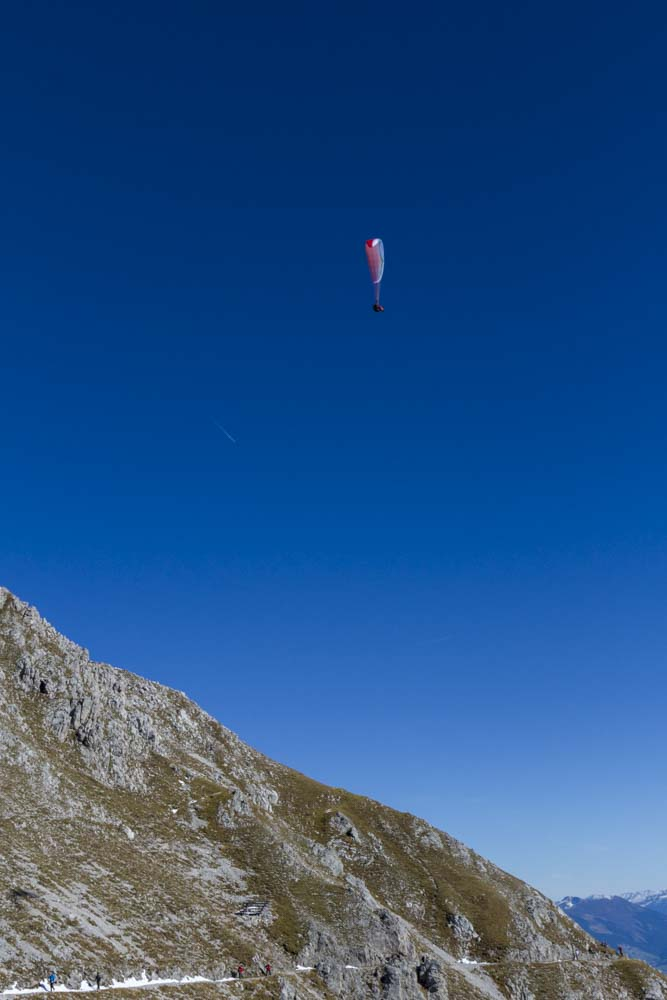 Paragliding above Nordkette and Innsbruck, Austria.
