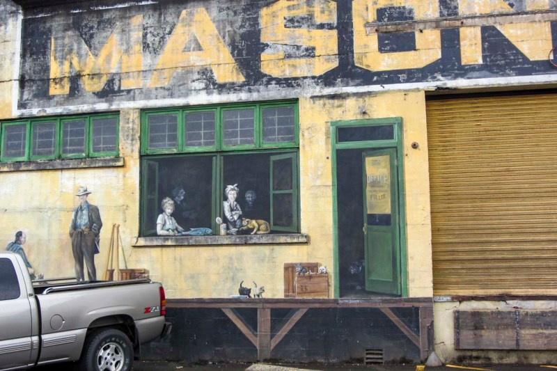 Section of wall on warehouse in Astoria, Oregon.