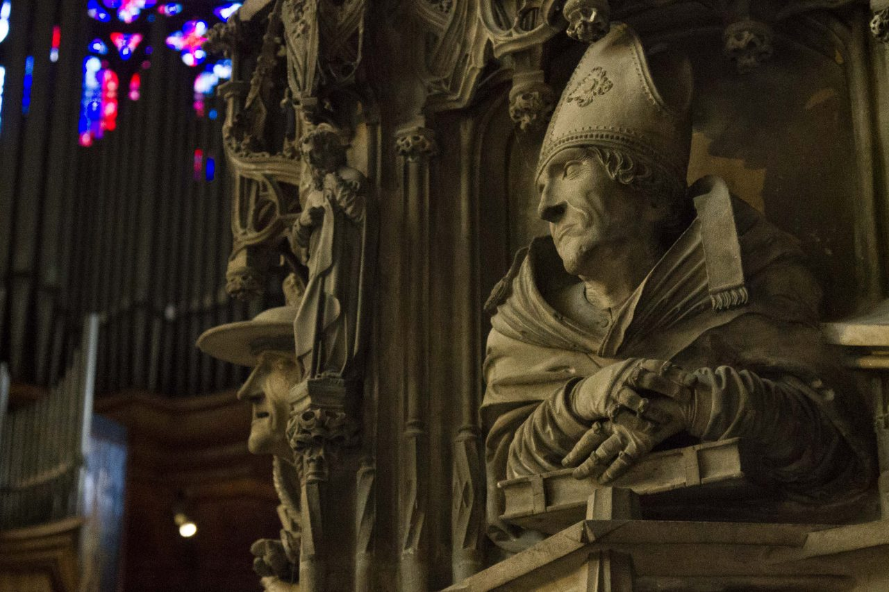Detail, late Gothic pulpit, St. Stephen's Cathedral, Vienna, Austria.