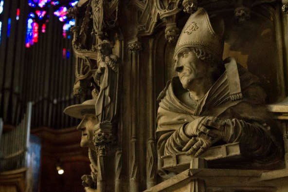 Detail from  late Gothic pulpit, St. Stephen's Cathedral, Vienna, Austria.