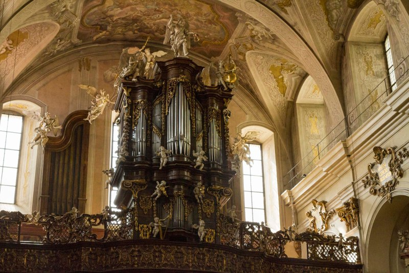 Organ with decorative angel orchestra, Church of St. John the Baptist and John the Evangelist,, Brno, Czech Republic.