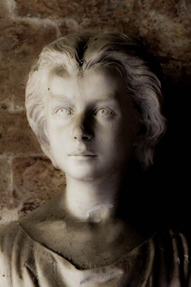Bust of Silvia, inside a family crypt, cemetery on San Michele, near Venice, Italy