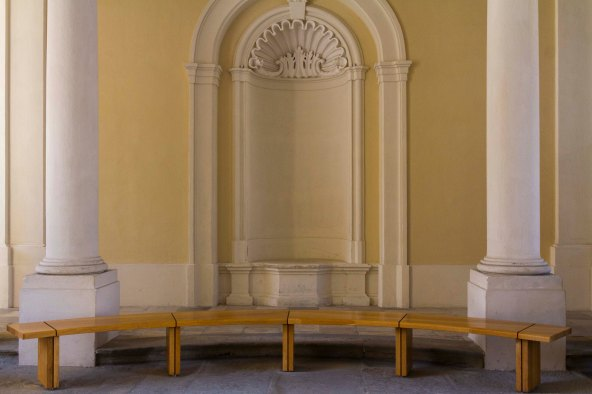 Bench in breezeway  at Melk Abbey, Austria