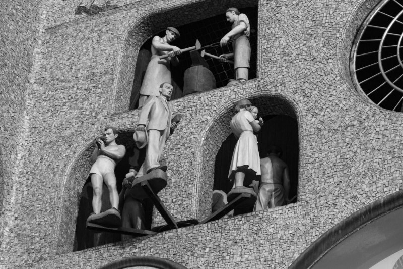 Moving figures on astronomical clock, Olomouc Town Hall, Olomouc, Czech Republic