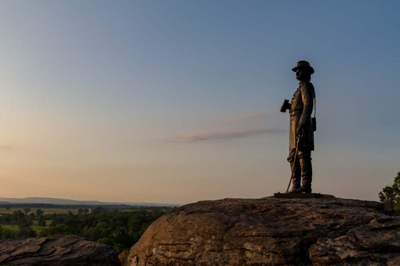 General Warren Surveys the Battlefield From Little Round Top, Gettysburg National Military Park, Gettysburg, Pennyslyvania