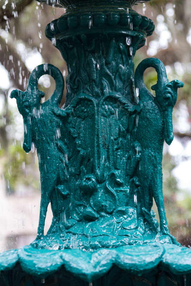 Details from fountain, painted cast iron, Savannah, Georgia