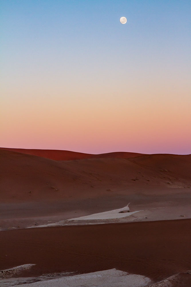 Moonset at Sunrise, Sossousvlei, Namibia