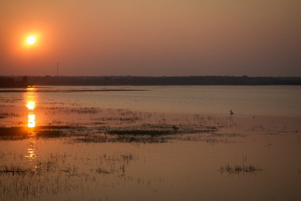 Sunset, ancient man-made lake near Anuradhapura, ancient capital of Sri Lanka.