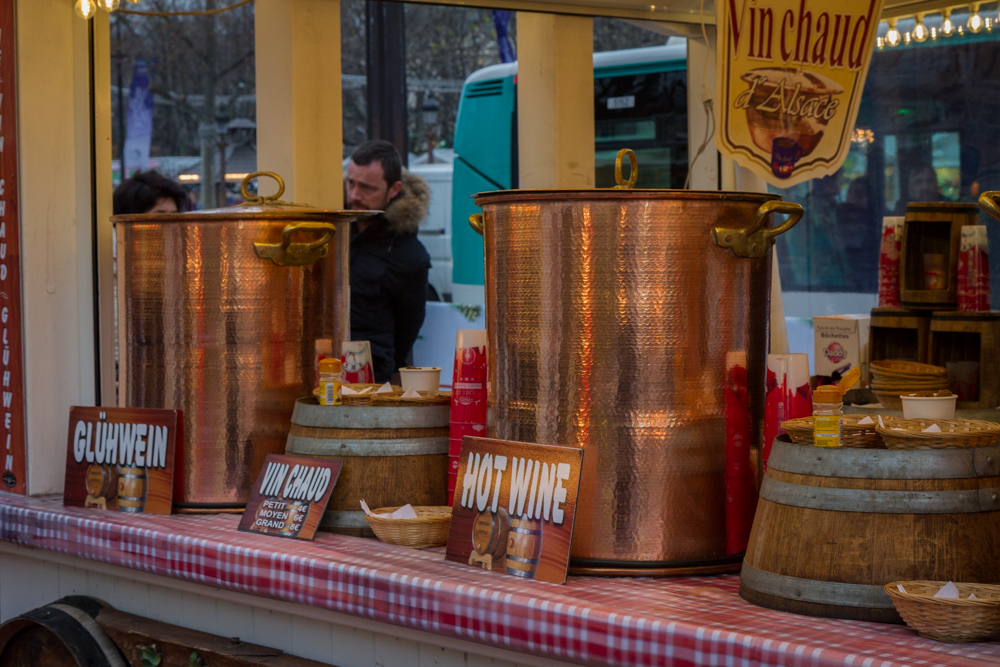 Copper Urns of Vin Chaud, Paris Christmas Market, Paris, France