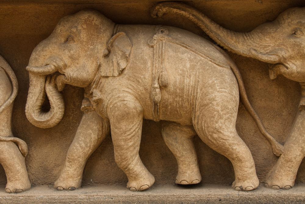 Elephant frieze, Kelaniya Raja Maha Vihara or Kelaniya Temple. Kelaniya, Sri Lanka